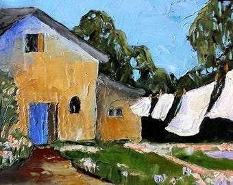 Impressionist Painting Lynne French PROVENCE Plein Air Landscape Garden Clothesline LAUNDRY 11x14