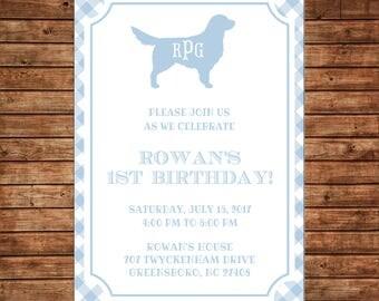 Boy Puppy Dog Monogram Gingham Pawty Birthday Party  Invitation - DIGITAL FILE