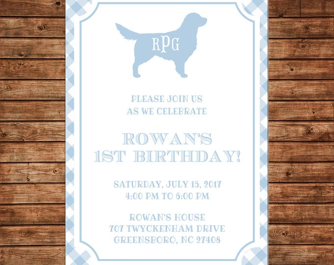 Boy Puppy Dog Monogram Gingham Pawty Birthday Party  Invitation - DIGITAL FILE