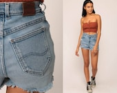 Cut Off Shorts Ripped Shorts 90s Denim Shorts LEE Jeans Cutoff Jean Shorts High Waisted Cutoffs 80s Blue Vintage Small Medium 28
