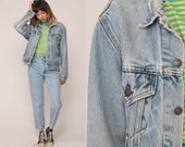 Levis Jean Jacket 80s Distressed Denim Jacket Faded Ripped Levi Coat 90s Blue Vintage Oversized Biker Grunge Hipster Small