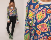 80s Sweatshirt GEOMETRIC PRINT Slouchy Graphic Shirt Pullover 1980s Statement Jumper Vintage Abstract Blue Pink Yellow Raglan Large