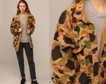 Camo Shirt Military Jacket Army Shirt Camouflage Utility Olive Drab Green 80s Commando Cargo Field Button Up Oversized Extra Large xl xxl