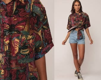 Button Up Shirt 80s Grunge Blouse Abstract Print Top Short Sleeve 90s Vintage Hipster Retro Burgundy Yellow Small