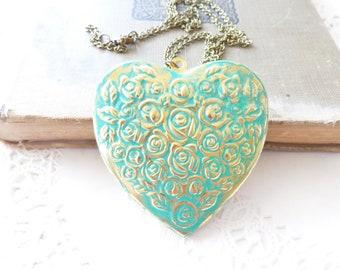 Large Aqua Heart Locket Necklace - Heart Locket - Aqua Patina Heart Locket - Large Rose Heart Locket - Heart Locket Pendant - Valentines