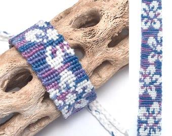 Friendship bracelet - embroidery floss - hawaiian flowers - woven - knotted - macrame - blue - purple - floral - handmade - thread - string