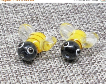 20% OFF LOOSE Lampwork Glass Beads - Black, Yellow, and Clear Bumble Bees (2 beads) - gla1151