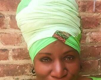 Garden Lightweight Cotton Headwrap -Fashion Headwrap- African-Women Hair Covering- Dread Locs-  Wax Print