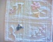 Pastel Floral Plush Vintage Cotton Chenille Bedspread Fabric 16 x 17 Inches