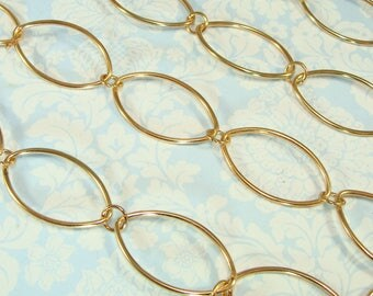 Gold Chain Big Oval Links Hamilton Gold Plated 35 or 47 Inch Length Craft Jewelry Supplies Specialty Bulk Chain for Necklaces Bracelets MG