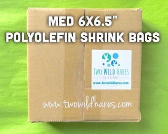 "500-MED 6x6.5"" POLYOLEFIN Shrink Bags (Smell Through Plastic), 75 g, BEST Wrap Available for Soap, Bath Bombs Etc"