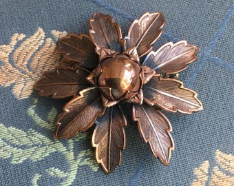Vintage Bell Trading Post Solid Copper Dimensional Flower Pin
