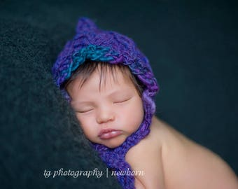 Jewel Tone Hand Knit Bonnet Photo Prop Newborn Pixie Baby Girl Going Home Hat Fall Knitted Purple Wool Coming Outfit Infant Photography
