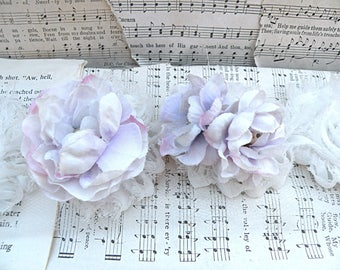 flower blossom dangle assemblage earrings lilac flower cottage chic repurposed fluff romantic