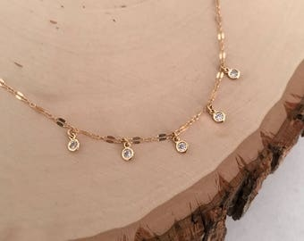 HOLIDAY SPECIAL! Dainty gold Sparkle Choker ( cz - cubic zirconia)