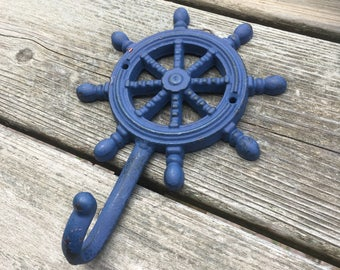 Navy Blue Large Ships Wheel Wall Hook - Helm Coat Hook - Wheel Hook (WH08-01)