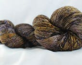 NEW COLOR WAY (Moon Glaze) Speckled hand dyed super wash merino single sock (100 grams) 400 yds