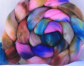 Hand painted Polworth silk 4.1 oz/116 grams #175