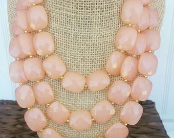 FREE EARRINGS Peach Triple Strand Chunky Statement Bib Necklace...Purchase 3 or more get 10% off
