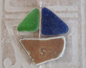 Sea Glass Pendant - Bright Green, Cobalt Blue Sea Glass and Pottery Shard Sterling Pendant Necklace