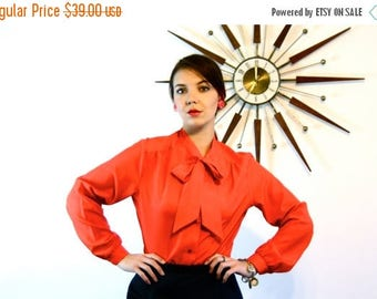 SALE 50% OFF Vintage Red Pussy Bow Blouse 70s Long Sleeve Button Down Top Big Ascot Tie Collar Blousy 80s Ladies Sexy Secretary Pussybow Shi