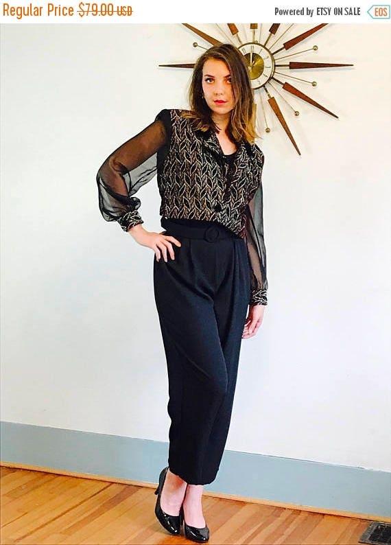 SALE 50% OFF Vintage 80s Metallic Velvet Brocade Jumpsuit Sheer Long Sleeve Onepiece Huge Shoulder Pads Draped Low V-Neck High Waist Waisted