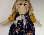 Custom for MrsM, Plastic Bag Holder Doll, African Animals Theme