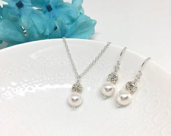 White Pearl Bridal Jewelry Set Pearl and Crystal Necklace Earring Pearl Crystal Ball Pearl Bridal Necklace Pearl Bridal Earring Hannah