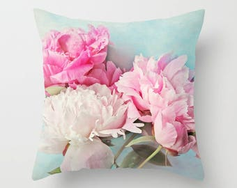 Shabby chic home decor  3 peonies 18x18 or 22x22 pillow, cottage decor, pink floral pillow, pastel pillow,flowers,aqua
