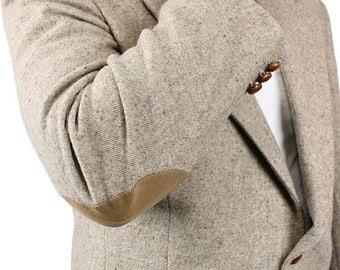 ON SALE Elbow Patch Blazer 44R Vintage Beige Flecked Wool Professor Jacket Sports Coat Free Us Shipping