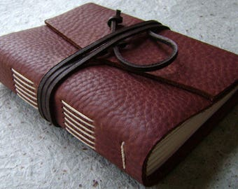 """Handmade rustic leather journal, 4"""" x 6"""", travel journal, leather sketchbook (2621"""
