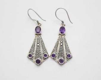 Balinese Sterling Silver genuine amethyst gemstone dangle Earrings / silver 925 / Bali  jewelry / 2 inch long