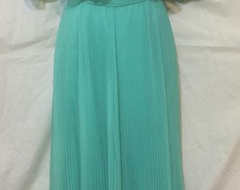 Miss Elliette California Flowing Chiffon Vintage Mint Teal Dress