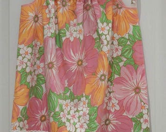 Girl's Pillowcase Dress, Vintage Pillowcase, Pink Orange Green and White, Eco-friendly