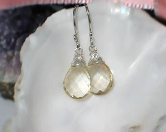 Oregon Sunstone Earrings | Champagne Pear Briolettes | Argentium Sterling Silver Dangles | Bridal | Birthday Gift | Everyday | Ready to Ship