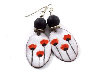Summer Poppies Handmade Earrings, Enameled Earrings, Antique Silver Earrings, Oval Earrings, Artisan Earrings, Purple and Black, OOAK, AE102