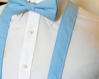 SALE Light Blue Bowtie and Suspenders Set - Men, Teen, Youth                  4 weeks BEFORE SHIPMENT