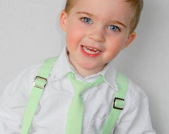 Mint Tie and Suspender Set - Infant, Toddler, Boy                                  2 weeks before shipping