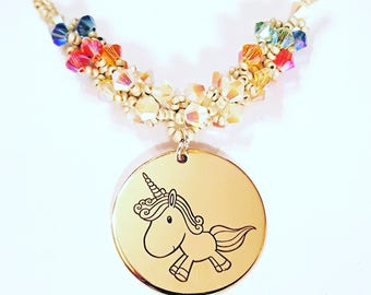 Swarovski Crystal Unicorn Charm Necklace - I'm a Motherf*cking Unicorn