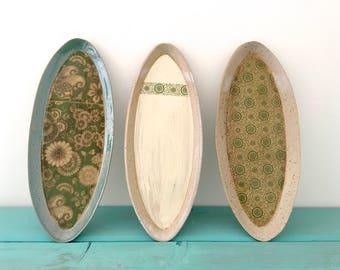 Serving Platter, Handmade, Pottery, Tray, Oval, Serving, Ceramic, Floral, Pattern