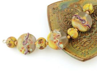 Lampwork Glass Bead Set, Lentil, Green, Lavender, Etched Matte