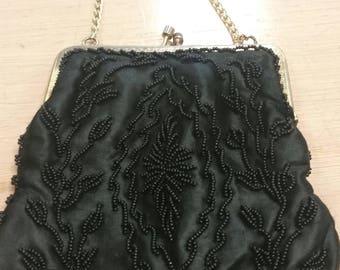 vintage 50s bag, black beaded purse, STUNNING beadwork, gorgeous little bag, black evening bag
