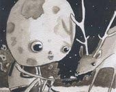 MoonMan - Original Watercolor - Mab's Drawlloween Club Day 24