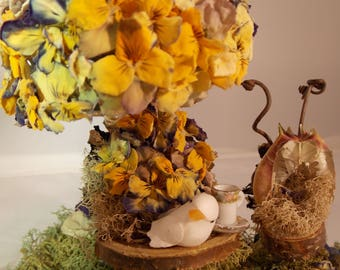 Miniature Fairy Garden Table Set~Natural Fairy Table with Chair~Fairy Moss Table-Fairy Garden Furniture Fairy House Furniture~Pansies