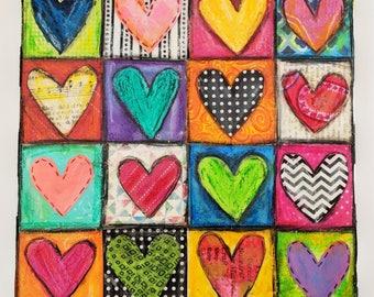 Happy Hearts Canvas Collage 8x8