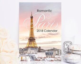 2018 Paris Photo Calendar - Romantic Paris 2018 Desk Calendar, Eiffel Tower, Gifts Under 25, Stocking Stuffer, Paris Wall Art