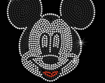 "6.7"" tall Mickey Mouse face Disney iron on rhinestone transfer applique patch"