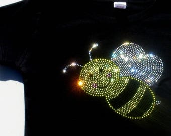 SALE 2T 3T 4T 5T 6X rhinestone Bumblebee shirt for Bumble Bee Costume