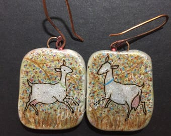 Dairy Goat Jewelry: Little White Goat in the Woods. Original Ink Drawing on Polymer Clay. Sky Blue, Purple, White, Copper, Pink, Green 4349