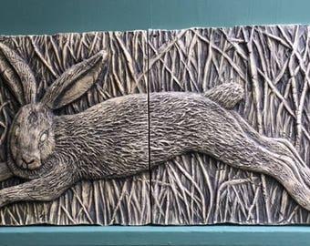 Rabbit Pottery Animal Relief Sculpture 2 Tile Set